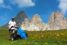 Mowing grass on our alpine meadows at the Sellajoch